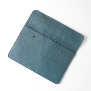 Open blue pouch for laptop made from reclaimed leather