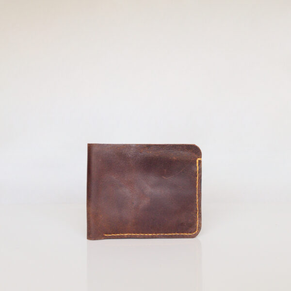 Dark brown bifold wallet made from repurposed leather. Contrasting yellow stitching