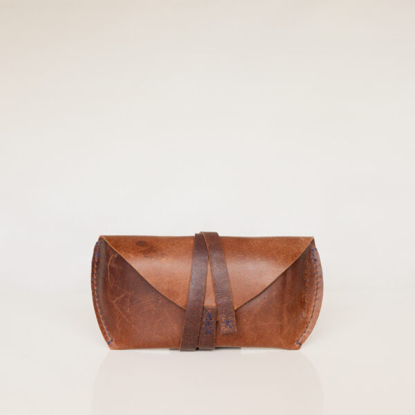 Brown leather sunglasses/glasses case with leather strap closure