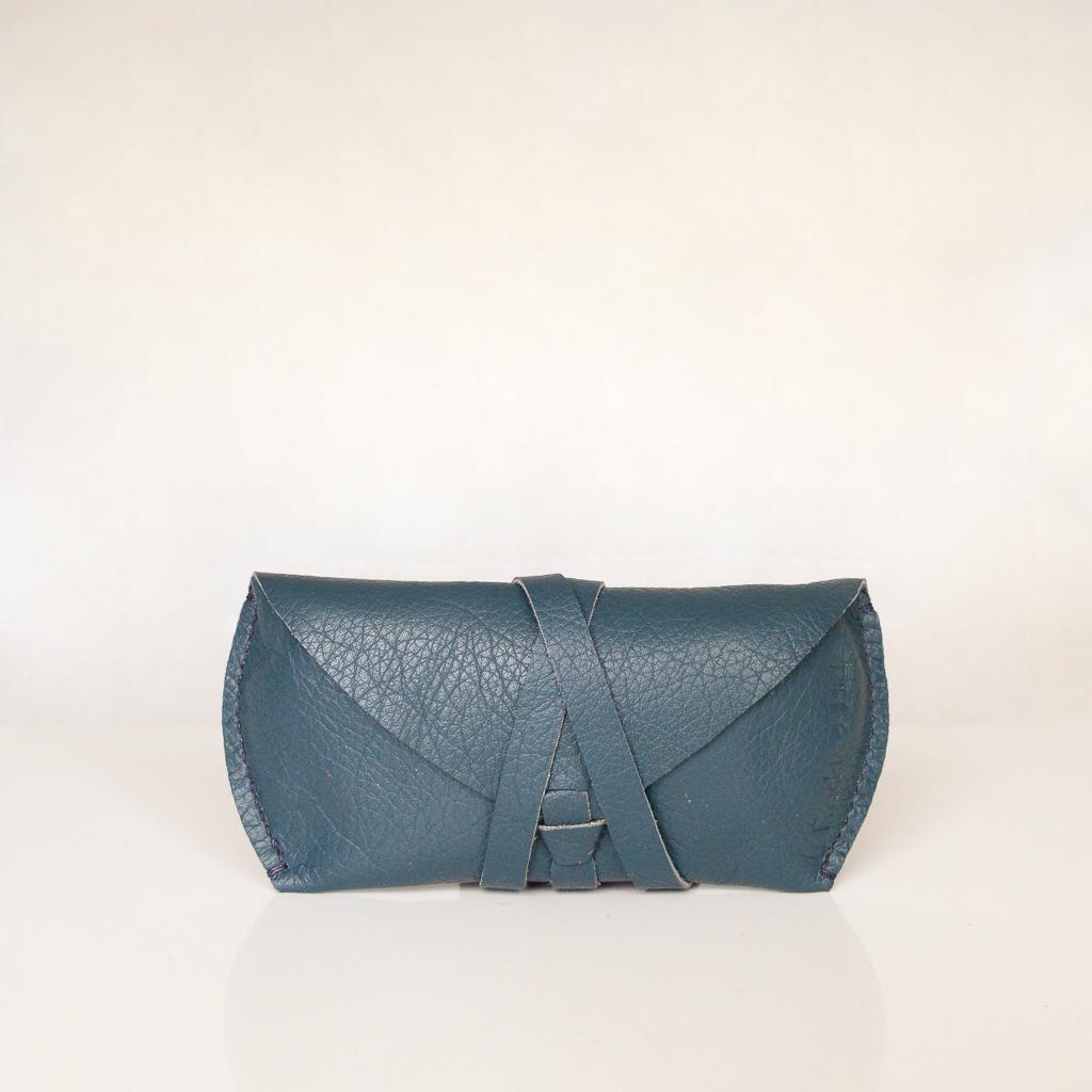 Blue/Green unique leather glasses case