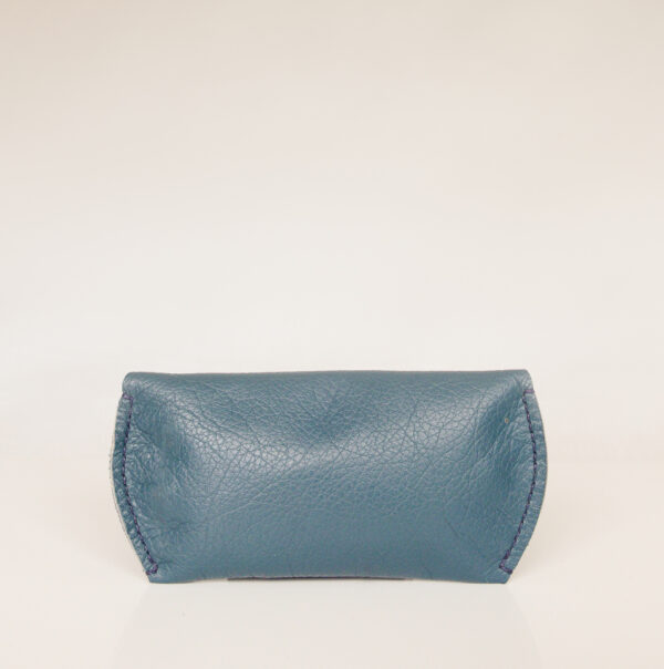 Rear view of blue green leather sunglasses case handstitched with blue linen thread