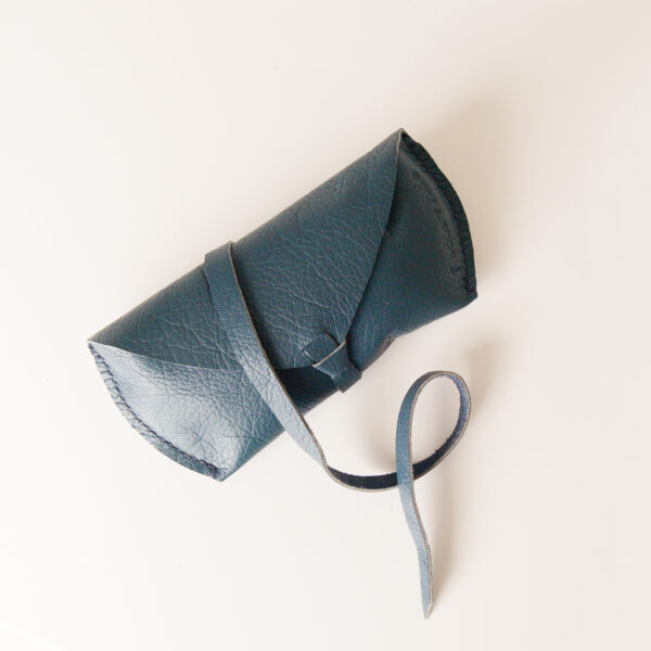 Blue green glasses case made from reclaimed and upcycled leather