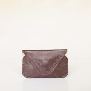Dear brown and cream minimalist leather card wallet