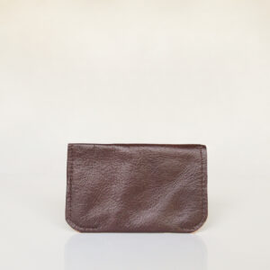 Back view of dark brown and cream minimalist card wallet made from reclaimed and upcycled leather