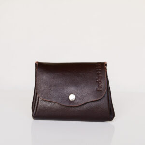 Dark brown leather wallet with silver popper on curved front flap
