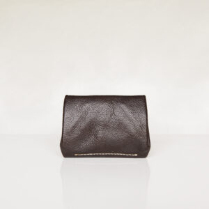 Rear view of dark brown leather wallet showing contrast cream stitching