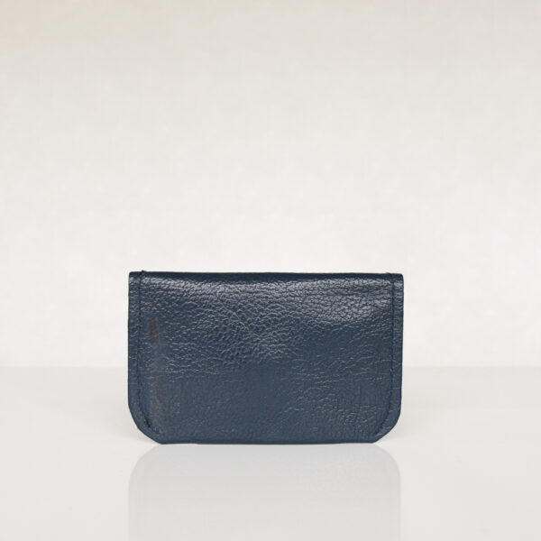 Back view of dark blue and yellow minimalist card wallet made from reclaimed and upcycled leather