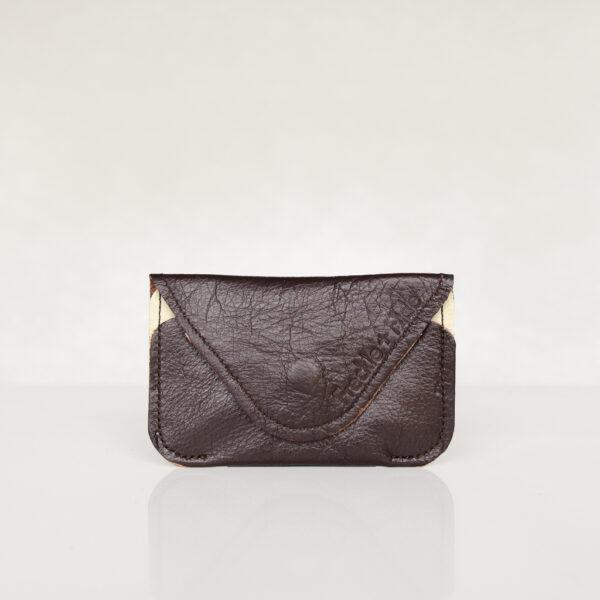 Dark brown and cream minimalist card wallet