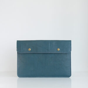 Blue laptop sleeve made of reclaimed and recycled leather