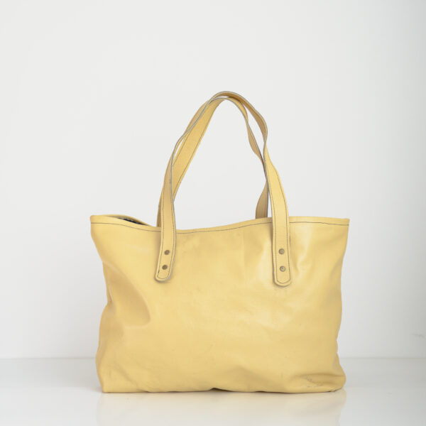 Yellow tote bag made from reclaimed and recycled leather