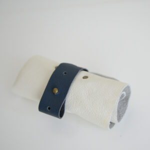 Cream and blue reclaimed leather roll for cables, headphones and chargers